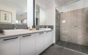 Semi frameless shower screen between walls